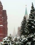Moskva snö-täckte Kreml och historiska museum bland högväxta fluffiga granar arkivfoto