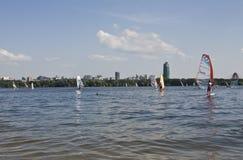 Moskva som vindsurfar Arkivbild
