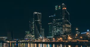 Moskva-stad affärsmitt på natten stock video