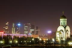 Moskva vid natt, stad av natten Royaltyfri Fotografi