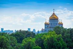 Moskvadomkyrka av Kristus frälsaren, flyg- panorama Royaltyfria Bilder