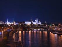 MoskvaKreml på natten, Ryssland Royaltyfri Bild