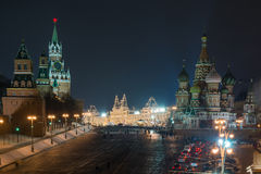 MoskvaKremlnatt royaltyfria bilder