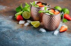 Moskvamulacoctailen med ingefärsdricka, vodka, limefrukt, jordgubbar och mintkaramellen i en tunnbindare rånar royaltyfria foton