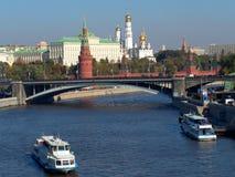 Moskvarivier, de Grote Steenbrug (Rusland) Stock Afbeeldingen