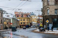 MoskvaSolyanka gata och synagoga Royaltyfri Fotografi