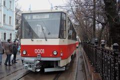 Moskvaspårvagnferie 2016 Spårvagn A Folket tar foto av det Royaltyfri Bild
