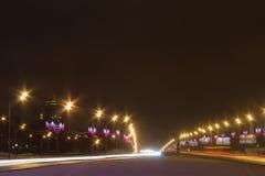 Moskvaväg i morgonen Arkivfoto