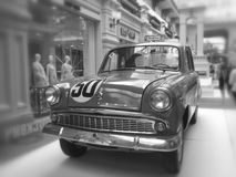 Moskvich-407 car. Moskvich 407 old soviet car in black&white, exhibition Royalty Free Stock Photo
