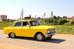 Moskvitch 412. ASTRAKHAN REGION, RUSSIA - AUGUST 21, 2016: Motor car Moskvitch 412 at the interurban road Royalty Free Stock Photography