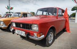 Moskvitch 412. Red Moskvitch 412 Volga  at exibition of vintage cars. Summer. Belarus. Vitebsk. 2017 Stock Images