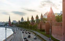 Moskvoretskaya embankment and Kremlin Stock Images