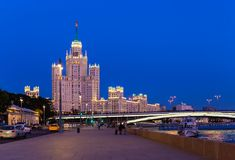 Moskvoretskaya embankment overlooking the Stalin high-rise skysc Royalty Free Stock Images