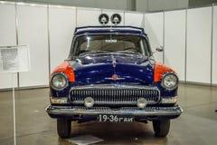 MOSKWA, AUG - 2016: GAZ-21 pospolitego ruszenia policja przedstawiająca przy MIAS Moskwa samochodu Międzynarodowym salonem na Sie Fotografia Royalty Free