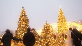 MOSKWA - DEC 17, 2018: Świąteczny nowy rok Holydays Moskwa i boże narodzenia Tłum ludzie chodzi wśród choinek dalej zbiory