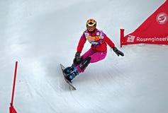 Snowboard sportsmenka Zdjęcia Royalty Free