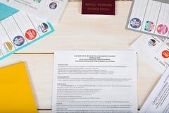 Moskwa, federacja rosyjska 02/14/2018 Elektoralny pakunek dla Ita Obrazy Royalty Free