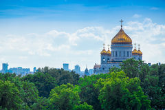 Moskwa katedra Chrystus wybawiciel, powietrzna panorama Obrazy Royalty Free