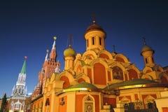 Moskwa Kremlin i Kazan ikony katedra przy nocą Kolor fotografia Zdjęcia Royalty Free