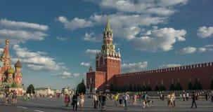 Moskwa Kremlin, plac czerwony Spasskaya wybawiciela zegarowy wierza timelapse zdjęcie wideo
