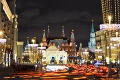 Moskwa Kremlin przy nocą w wigilię nowego roku Obraz Stock