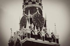 Moskwa Kremlin. Spasskaya wierza, zegar. Obraz Stock