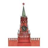 Moskwa Kremlowski zegarowy wierza odizolowywający Zdjęcia Stock