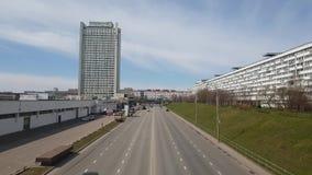 Moskwa, kwiecień 24 2018 Savelkinsky przejście jeden ulicy w centrum Zelenograd zbiory