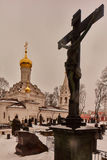 Moskwa - 03 2017 Luty: Donskoy cmentarz w Mos i monaster Fotografia Stock
