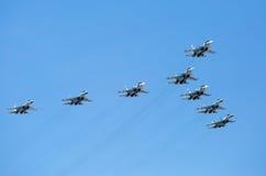 MOSKWA, MAJ - 9: Myśliwowie odrzutowi uczestniczą paradę Obraz Stock