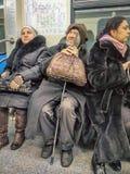 Moskwa metra pasażery Fotografia Royalty Free