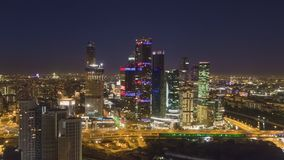 Moskwa miasta centrum biznesu i miasta linia horyzontu przy nocą Rosja widok z lotu ptaka zbiory wideo