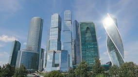 Moskwa miasta drapacze chmur TimeLapse Biurowy centrum biznesu Moscow miasto G?ruje Moskwa miasto zdjęcie wideo