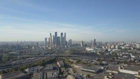 Moskwa miasta drapacze chmur, widok z lotu ptaka Biurowy centrum biznesu Moscow miasto Góruje Moskwa miasto zbiory