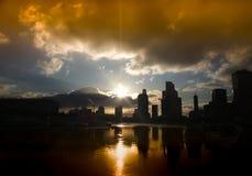 Moskwa miasta sylwetki drapacza chmur tło obraz stock