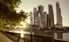 Moskwa miasta zawody międzynarodowi centrum biznesu fotografia stock