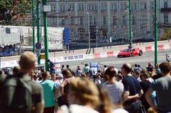 Moskwa miasto Ściga się A bieżnego samochód Ferrari Lipiec Zdjęcia Royalty Free