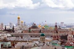 Moskwa miasto przy deszczowym dniem obraz stock