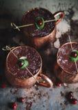 Moskwa muła koktajle garnirujący z cranberries i wapnem zdjęcia royalty free