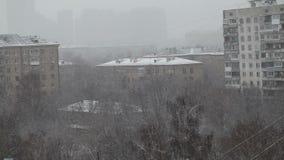 Moskwa śnieg, zima, Rosja, zmrok zbiory wideo