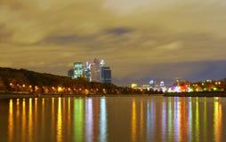 Moskwa, noc, rzeka Zdjęcie Royalty Free