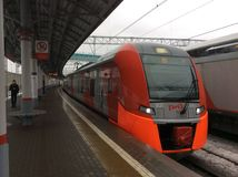 Moskwa okręgu pociągu środkowa droga Zdjęcia Royalty Free