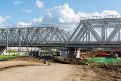 Moskwa, październik 01 2016 budowa linia kolejowa Moskwa centrali pierścionek Obraz Royalty Free