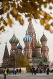 MOSKWA, PAŹDZIERNIK - 12: St basilu katedra na placu czerwonym na O Zdjęcia Stock