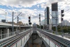 Moskwa, październik 01 2016 Widok linia kolejowa od stacyjnego centrum biznesu Moskwa centrali pierścionek Zdjęcie Stock