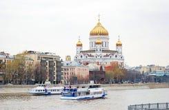Moskwa panorama Chrystus wybawiciela kościół Obrazy Royalty Free