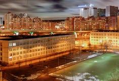 Moskwa, pory nocnej oświetlenie fotografia stock