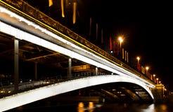 Moskwa przy nocą duży kamienia most Zdjęcia Stock