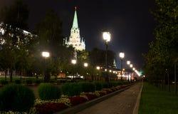 Moskwa przy nocą, Kremlin park Zdjęcie Royalty Free