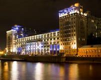 Moskwa przy nocą, Teatr Estrada Zdjęcie Royalty Free